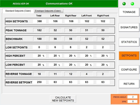 Tonnage Kit HMI Screen shot